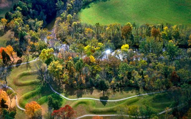 The Great Serpent Mound, a pre-historic effigy mound, along Ohio Brush Creek in Ohio