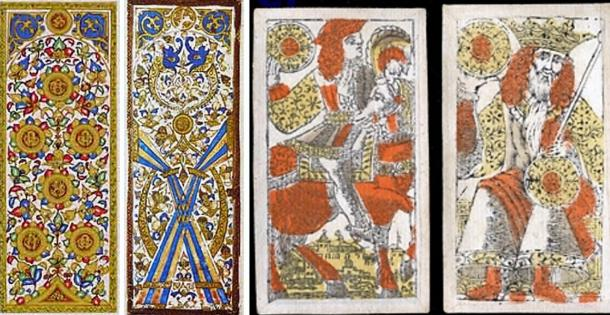 Two hand-painted Mamluk playing cards and two Venetian playing cards.