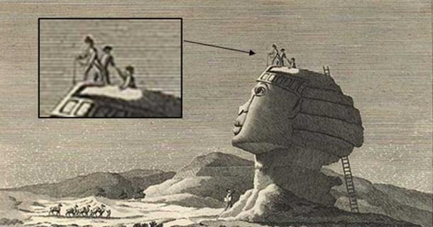 Vivant Denon's sketch of the sphinx in 1798 depicts a man being pulled out of a hole in the sphinx's head