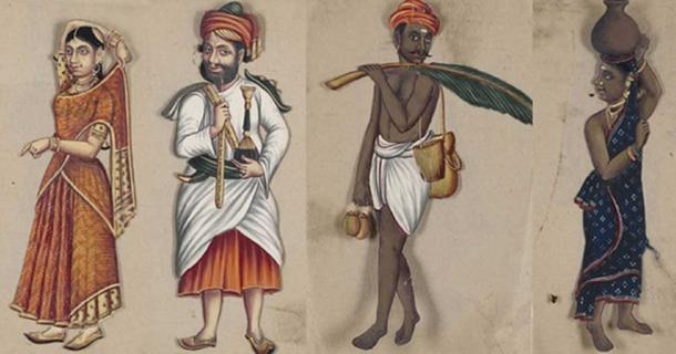 Images from the manuscript 'Seventy-Two Specimens of Castes in India.'