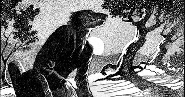 """Drawing of a werewolf in woodland at night. Main illustration for the story """"The Werewolf Howls"""". Internal illustration from the pulp magazine Weird Tales"""