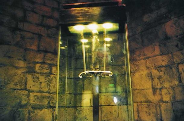 Detail of the Wallace sword on display inside William Wallace monument.