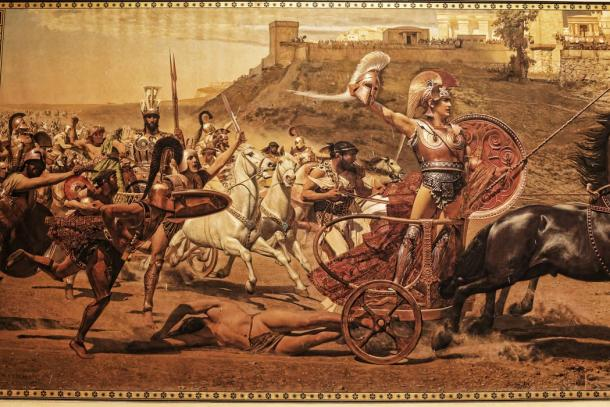 Trojan War scene. Achilles dragging the dead body of Hector in front of the gates of Troy