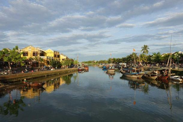 Boats on the river in Hoi An.