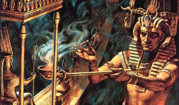 An artist's imaginary depiction of a pharaoh burning herbs (possibly cannabis or blue lotus) in a ritual.