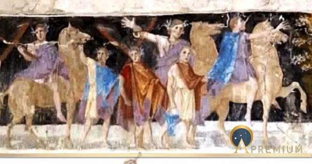An ancient fresco of Macedonian soldiers from the tomb of Agios Athanasios, Thessaloniki, Greece, 4th century BC (Public Domain)