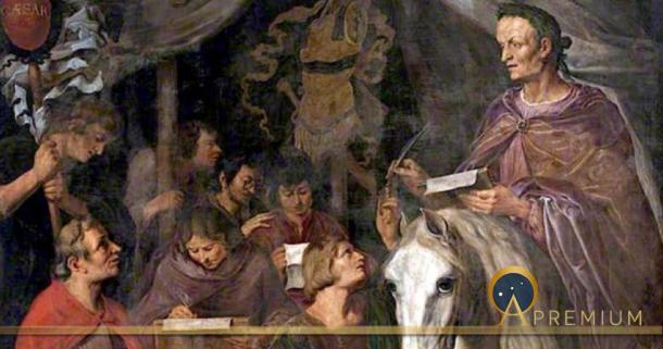 Julius Caesar on Horseback, Writing and Dictating Simultaneously to His Scribes by Jaques de Gheyn II (1629) (Public Domain)