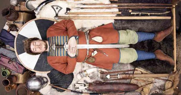 Reconstruction of an Iron Age Nordic warrior's burial. Two rich warrior graves in Sweden also included down duvets!