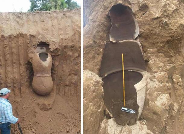 Large ceramic funerary urns discovered within a mound found in the Los Ríos province of Ecuador. Source: Instituto Nacional de Patrimonio Cultural/YGV Prensa Digital