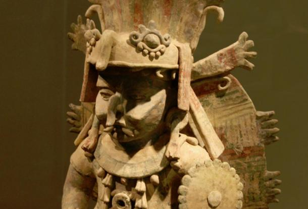 Terra cotta image of Maya Rain God Chac at San Francisco`s de Young museum.