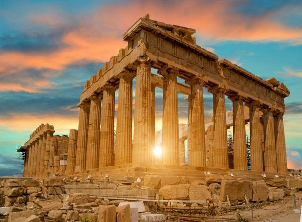 The Acropolis Athens (where the cyclopean wall can be found) during sunset.             Source: sea and sun / Adobe stock