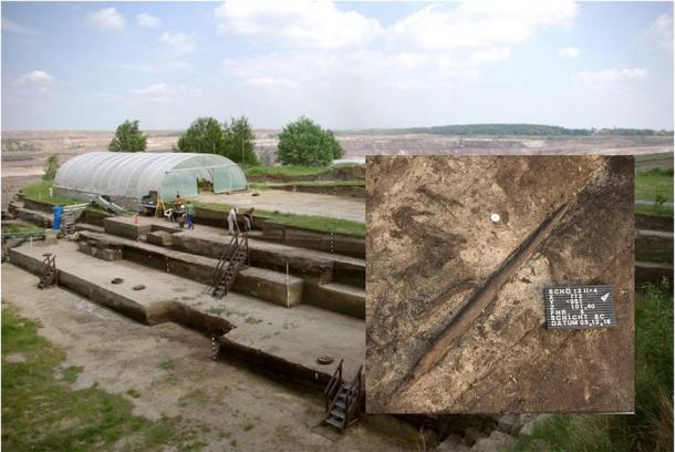 Main: View over the excavations in Schöningen in Germany. Inset: The 'killing stick' that was unearthed at the excavation site. Source: Eberhard Karls Universität Tübingen