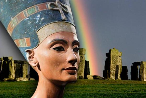 The iconic bust of Nefertiti, discovered by Ludwig Borchardt, is part of the Ägyptisches Museum Berlin collection, currently on display in the Altes Museum. (The Red List), Stonehenge with a rainbow.
