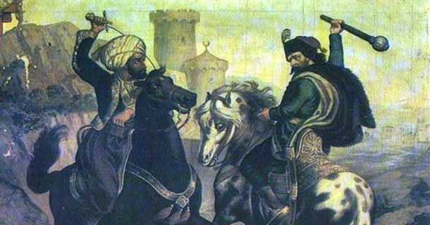 Prince Marko and Musa the Outlaw, 1900 painting by Vladislav Titelbah, the Narodni muzej Museum in Kikinda, Serbia.