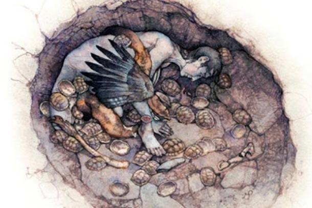 Una reconstrucción del entierro de la mujer chamán en la cueva Hilazon Tachtit