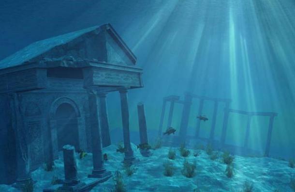Artist's representation of underwater ruins.