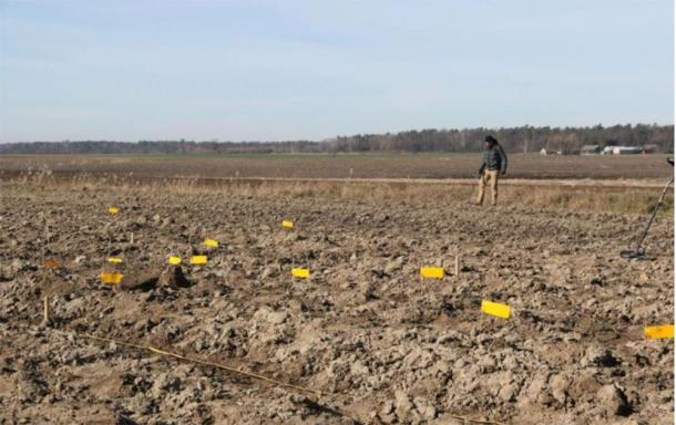 The field where the denarii coins were found after being churned up by farm equipment. (Stanisław Staszic / Muzeum Hrubieszow)