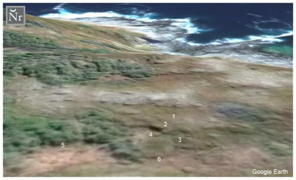 FIGURE 3: Satellite photograph taken above Point Rosee of a possible bog ore roasting oven, exposed by William James Veall.