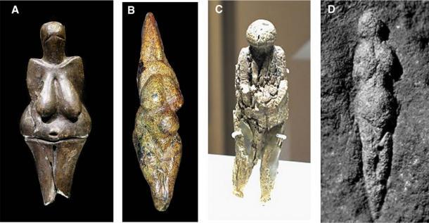 Ice Age Venus figurines from Europe and the steppes of Russia (38,000 to 14,000 BP). (A) Venus of Dolni Vestonice, Czech, 26,000 BP. (B) Venus of Savignano, Italy, 24,000‐23,000 BP. (C) Venus of Zaraysk, Russia, 19,000 BP. (D) Venus of Abri Pataud, France, 21,000 BP. (Johnson, R.J., Lanaspa, M.A. & J.W. Fox, 2020/Obesity)