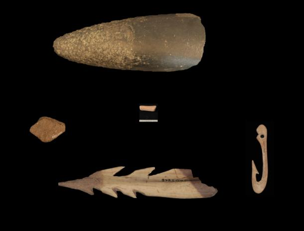 Axe, fish hook and other stone tools from the earliest Scandinavians, found in a cave on Gotland.