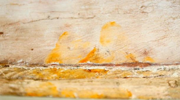 The fingerprints found on the inner lid of a 3,000-year-old coffin.