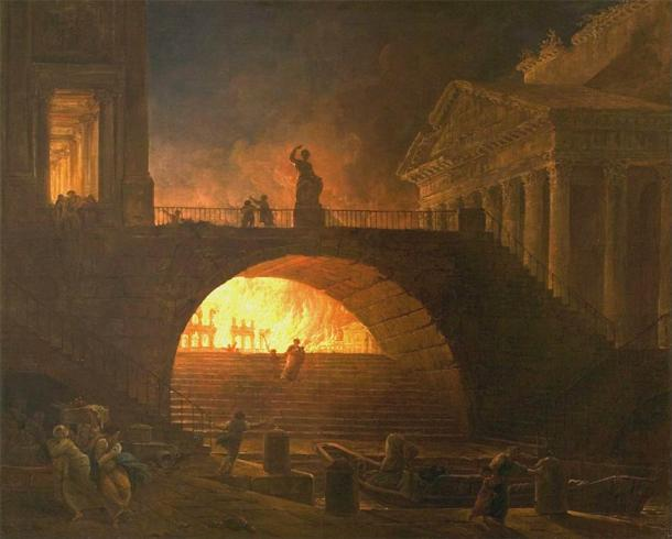 The Great Fire of Rome portrayed in an 18th-century painting by a French artist. (Hubert Robert / Public domain)