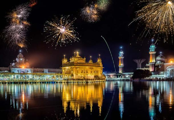 Composite image of fireworks over the Golden Temple, Amritsar, India.