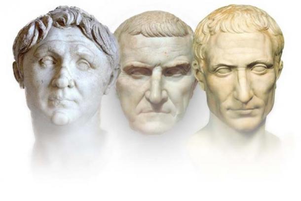 The First Triumvirate of the Roman Republic:  Gnaeus Pompeius, Licinius Crassus, and Gaius Julius Caesar (Mary Harrsch/ CC BY-SA 4.0)