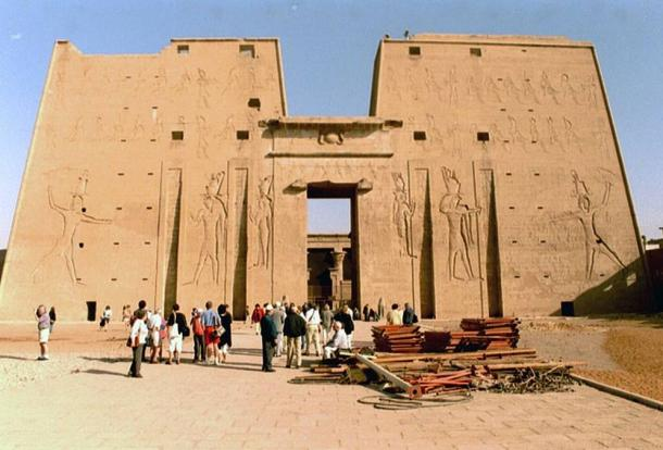 The first pylon at Edfu Temple was decorated by Ptolemy XII in 57 BC with figures of himself smiting the enemy.