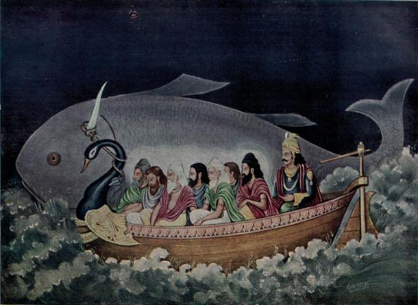 The fish Matsya rescues the Saptarishi (Seven Sages) and Manu from the great Deluge
