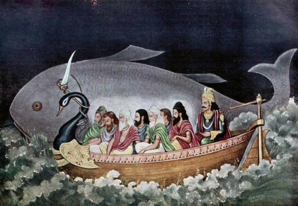 There are similarities between the Hindu flood legend of Manu and the Biblical account of Noah. Here the fish avatara of Vishnu saves Manu during the great deluge.