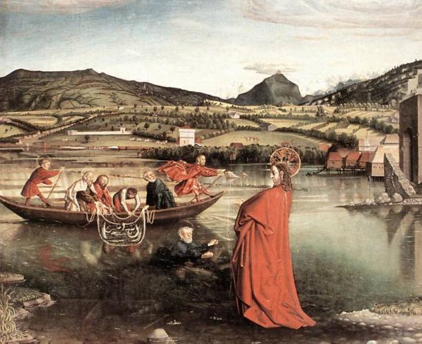 Biblical scene of a fishing village