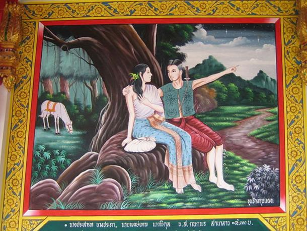 Khun Phaen and Wanthong flee to the forest. Mural in sala on Khao Phra, U Thong, Suphanburi, Thailand.