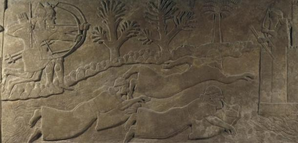 """""""The escape of enemies across a river"""" depicts men using floatation devices to cross a river in the 9th century BC (or men diving underwater and using air-filled bladders as breathing gear)."""