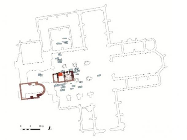 The floor plan of the Frankfurt Cathedral, showing in dark red near the center the building where the children's remains were buried.