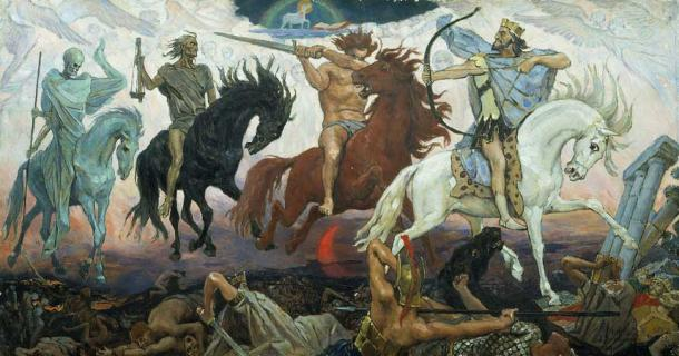 Each of the Four Horsemen of the Apocalypse represent different aspects of the cleansing of the earth, by Russian painter Viktor Vasnetsov. (Rillke / Public Domain)