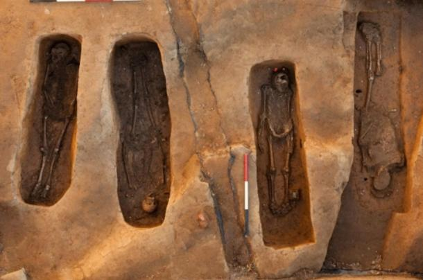 The four skeletons discovered at the old Jamestown church, Jamestown, USA