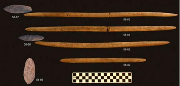 In the Alaskan grave, four spear shafts made of elk antler and the biface stone points with them are the oldest examples of these hunting tools found in the Americas.