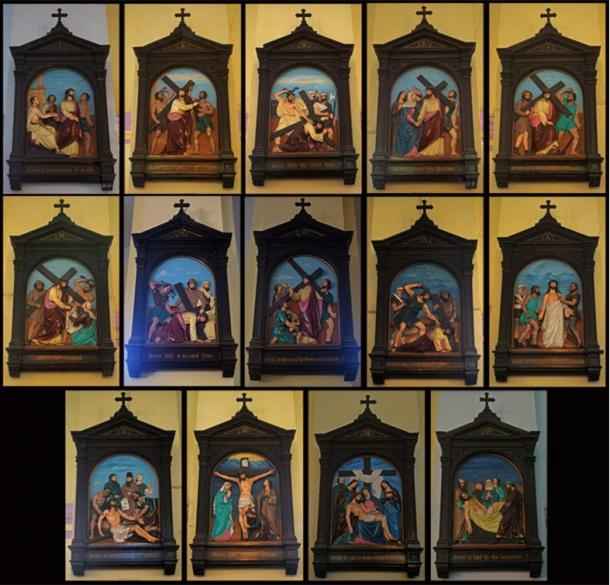 Artist's depiction of the fourteen stations of the cross, Portuguese Church, Kolkata