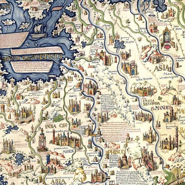 Este detalle de de Fra Mauro mapa mundial de la década de 1450 muestra la ciudad de Ayutthaya en su centro.