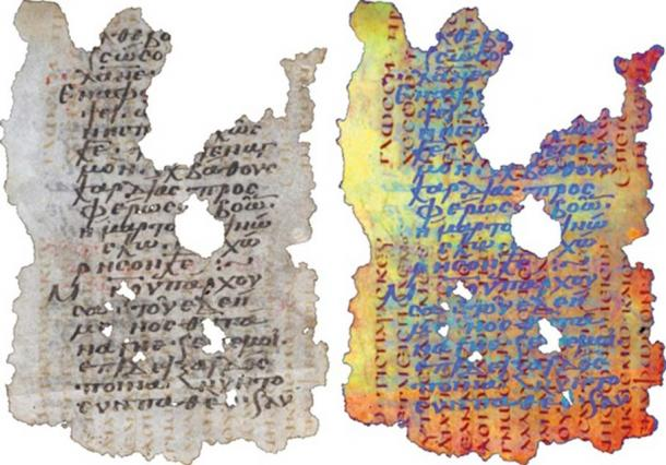 A fragment of a reused parchment, or palimpsest, covered with medieval Greek writing (left) shows faint traces of a text lying beneath. Multispectral imaging of the parchment (right) shows that the erased text, in red, is 1 Corinthians, transcribed in the 5th century.