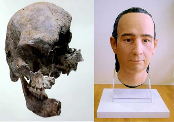 Frontal view of the reassembled fragments of the skull of Giovanni Battista Sidotti