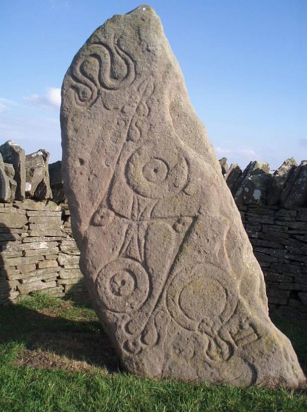 A free-standing symbol stone. 'Serpent Stone', Aberlemno, Scotland.