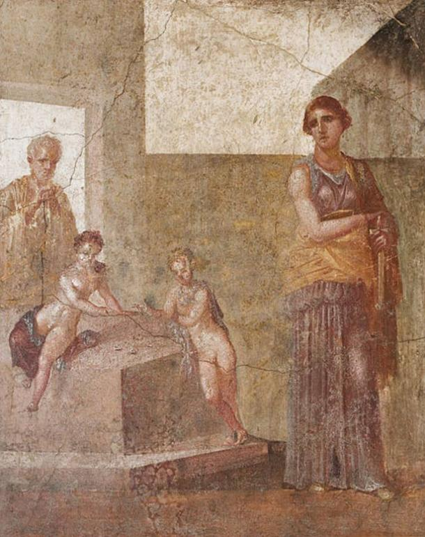 1st century AD fresco in which Medea plans the murder of her children, who are playing knucklebones.