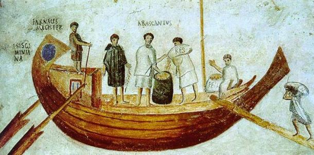 2nd/3rd Century AD fresco depicting a Roman merchant vessel