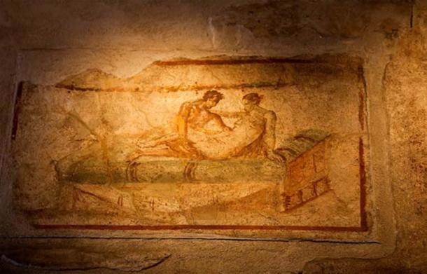 A fresco found within one of Pompeii's brothels.