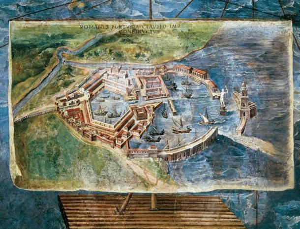 A 16th-century fresco in the Vatican Palace shows an idealized reconstruction of Portus' grand architectural and engineering features.
