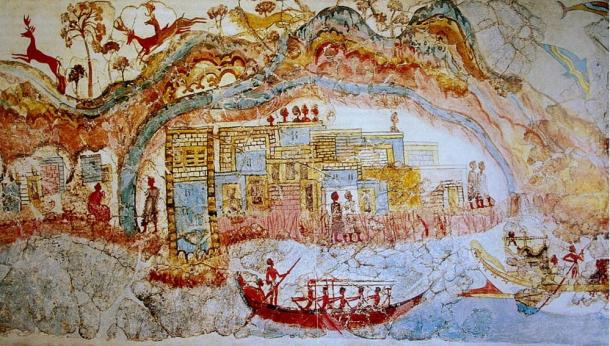 Elaborate and colorful fresco revealed at Akrotiri.