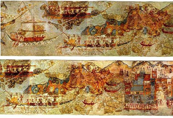 A fresco of boats and a coastal village, dated between 1650 and 1500 BC. (National Archaeological Museum of Athens / Public domain)