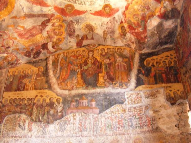 Impressive frescoes inside the Sumela Monastery